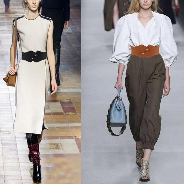 寬版皮帶腰封寬版腰帶女紐扣裝飾襯衫洋裝子簡約百搭時尚彈力皮帶上衣配飾