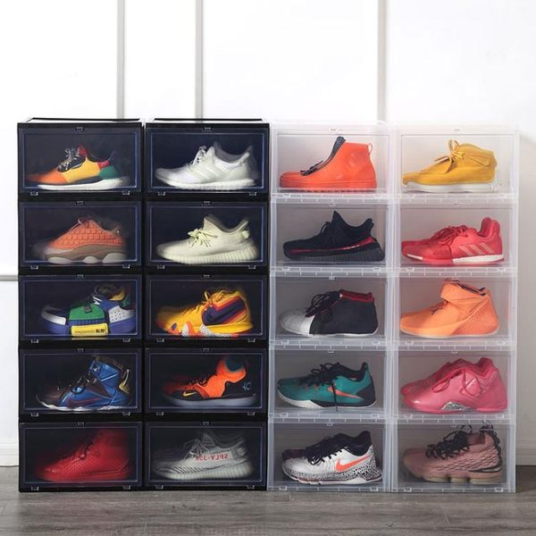 鞋盒 側開展示鞋盒儲物展示防氧化塑料球鞋收藏直立收納高幫球鞋AJ鞋櫃 伊蘿鞋包