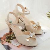 夏季新款女一字帶魚嘴涼鞋舒適百搭韓版細跟蝴蝶結高跟女鞋子  卡布奇诺