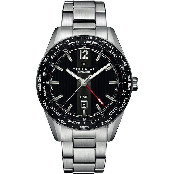 Hamilton 漢米爾頓 Broadway 百老匯 GMT 限量機械錶-黑x銀/46mm H43725131