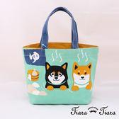 【Tiara Tiara】純棉柴犬富士山溫泉帆布袋(綠)
