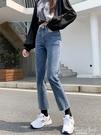 2020年秋季新款寬鬆直筒牛仔褲女高腰寬管顯瘦九分彈力微喇牛仔褲 果果輕時尚