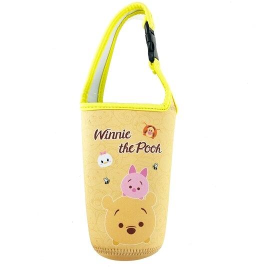 小禮堂 迪士尼TsumTsum 小熊維尼 潛水布水壺袋 環保杯袋 飲料杯袋 (黃 大臉) 4713549-20076