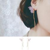 耳環 蝴蝶 造型 金屬 鍊條 長款 氣質 耳環【DD1705038】 icoca  06/22