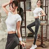 瑜伽服2018新款短袖T恤專業健身服女戶外緊身長褲跑步運動套裝女 熊貓本