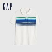 Gap男童 舒適透氣印花短袖POLO衫 586419-白色