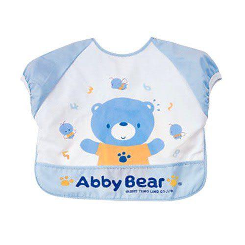 【奇買親子購物網】艾比熊短袖餵食圍兜(藍色/粉色)