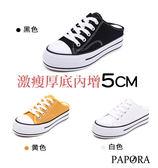 PAPORA學院風厚底穆勒懶人休閒鞋K8057白/黑/黃(偏小)