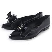 Petite Jolie 立體蝴蝶結尖頭娃娃鞋-亮黑色