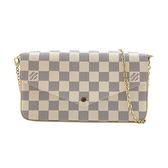 【台中米蘭站】全新品 Louis Vuitton Pochette Felicie 棋盤格帆布鍊帶斜背包(N63106-白)