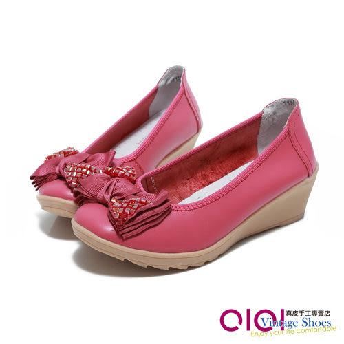 楔型鞋 層次水鑽蝴蝶結真皮楔型鞋(桃紅) *0101shoes【18-1157r】【現+預】