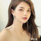 耳環 人造珍珠流蘇吊墜顯臉瘦的女氣質韓國個性百搭熊妹醬耳釘 nm16453【野之旅】