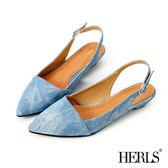 涼鞋-HERLS 經典復刻 丹寧刷色微跟涼鞋-藍色
