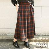 LOWRYS FARM素色格紋打褶後鬆緊飄逸八分口袋長寬褲-四色