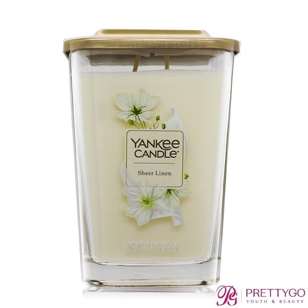 YANKEE CANDLE香氛蠟燭-純粹亞麻Sheer Linen(552g)-方瓶【美麗購】