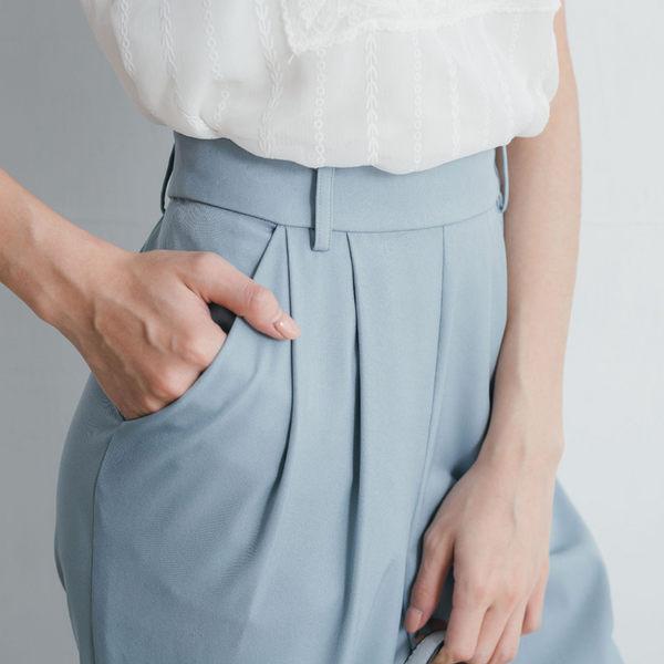 單一優惠價[H2O]下襬釦子可打開調整厚雪紡錐型九分褲 - 黑/粉/淺藍色 #9688005