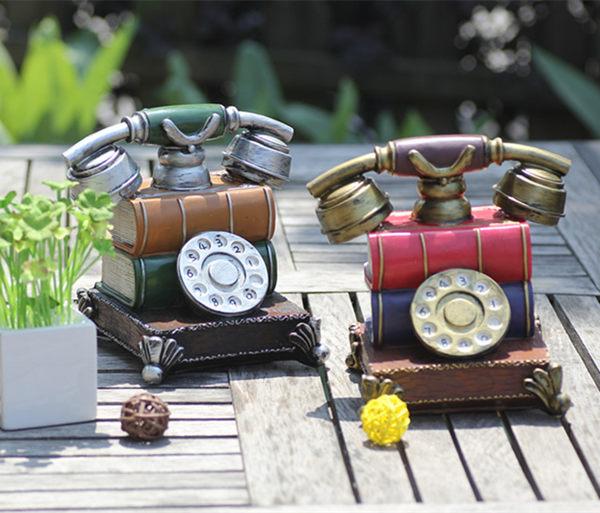 鬧鐘 家居裝飾品復古懷舊電話創意擺件做舊電話存錢罐結婚生日禮物道具【店慶八折特惠一天】