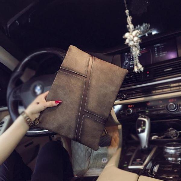 男手拿包  新款復古韓版男女士手拿包商務休閒潮流手抓包 信封包文件包潮包 快速出貨