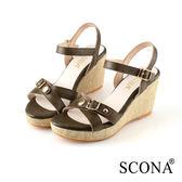 SCONA 蘇格南 全真皮 簡約時尚交叉楔型涼鞋 綠色 22721-2