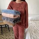 睡衣 珊瑚絨睡衣女秋冬可外穿加厚暖暖褲寬鬆休閒家居服兩件套 韓菲兒