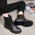 [Here Shoes]男版雨鞋-加大尺碼全防水消光黑霧面雨靴 雨天熱銷款 軍靴 機車靴 馬丁靴  ─AR809