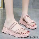 PAPORA經典羅馬休閒式厚底百搭涼鞋KK5739米色/粉色