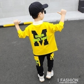 童裝男童運動套裝秋款2019新款兒童中小童翻領連帽T恤兩件套韓版潮衣-ifashion