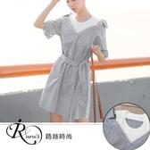 【快速出貨】韓系小清新休閒寬鬆條紋短袖洋裝上衣/1色/SMLXL (RL0103-8372) iRurus 路絲時尚