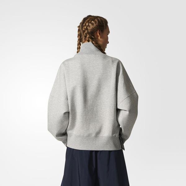 ADIDAS ORIGINALS SWEATSHIRT 女裝 上衣 長袖 高領 棉質 休閒 舒適 透氣 灰【運動世界】BR9540