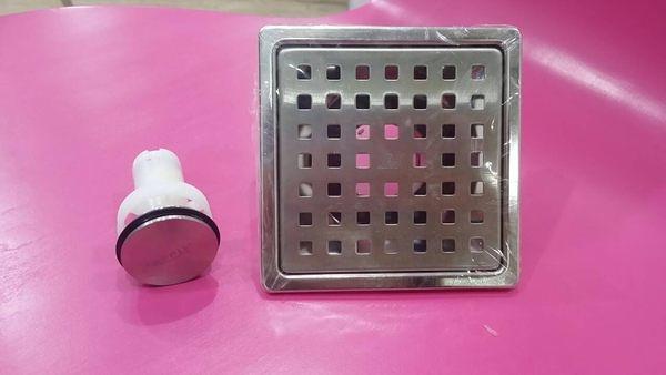 【麗室衛浴】廚房地板不鏽鋼壓扣式落水頭  M-038D 防蟲.防臭.防髮絲雜物  快速排水 10x10cm