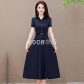 夏季新款韓版女長款高檔洋裝氣質時尚顯瘦大碼女裝短袖長裙 快速出貨