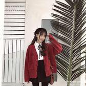 秋裝日系刺繡V領寬鬆針織開衫原宿風學生外套毛衣女 可可鞋櫃