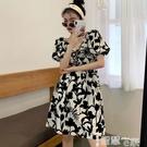 雪纺洋裝 茶歇法式炸街花色碎花v領雪紡短袖連身裙女夏2021新款短裙胖妹妹 智慧