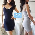 【V0821】shiny藍格子-甜美迷心.性感修身包臀細肩帶連身裙