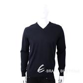 TRUSSARDI 皮革標深藍色針織羊毛衫 1810246-34