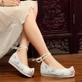 繡花鞋古風漢服鞋配女內增高中式繡花鞋布鞋千層底刺繡翹頭履古裝舞蹈鞋 貝芙莉