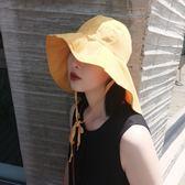 遮陽帽帽子女夏天日系防風大檐帽護頸遮陽戶外可折疊沙灘防曬正韓遮陽帽