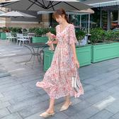 韓系 洋裝 夏裝新款S-XL雪紡收腰仙女長裙 氣質複古碎花大擺超長連身裙9115 H325 依品國際