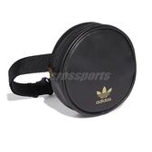 adidas 斜背包 Round Waist Bag 黑 金 女款 皮革 小包包 運動休閒 【PUMP306】 FL9628
