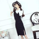 2018秋裝新款韓版氣質長袖翻領襯衫上衣兩穿背心包臀背帶裙套裝女