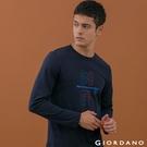 【GIORDANO】男裝經典標語印花T恤 - 14 標誌海軍藍