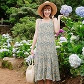 《DA5731》花朵盛開拼接荷葉裙襬美背細肩帶洋裝 OrangeBear