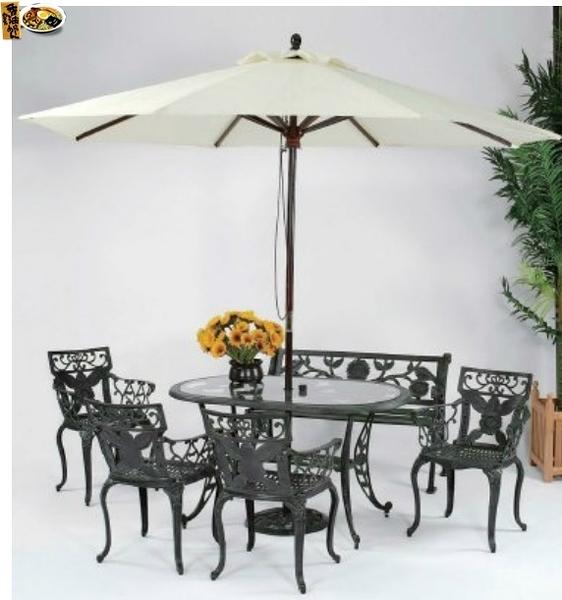 【南洋風休閒傢俱】戶外休閒桌椅系列-向日葵橢圓桌椅組 戶外餐桌椅組 適民宿 餐廳 (#252 #304 #068C)