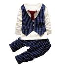 嬰兒長袖套裝 西裝小紳士 條紋背心 假兩件上衣 棉質長褲 正式 童裝 CK7553 好娃娃