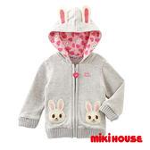 MIKI HOUSE  舞颯兔可愛連帽造型外套(灰)