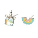925純銀 不對稱彩虹獨角獸 幻彩藍水晶 耳環耳針釘-銀 防抗過敏