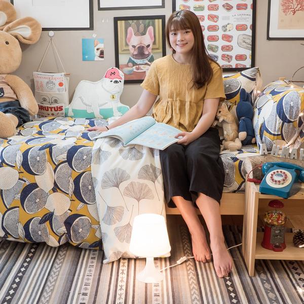 藍色檸檬與落葉 K1 kingsize床包3件組 四季磨毛布 北歐風 台灣製造 棉床本舖