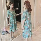 睡衣女夏季韓版清新學生可外穿短袖可愛卡通魚大碼孕婦睡衣家居服 春季上新