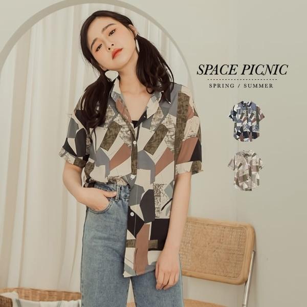 短袖 襯衫 Space Picnic|藝術幾何雪紡短袖襯衫(現+預)【C20042075】