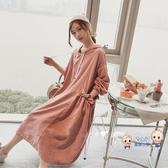 孕婦洋裝 秋裝連身裙2020年新款冬裝時尚上衣女連帽T恤寬鬆孕婦洋裝秋款套裝 M-XXL